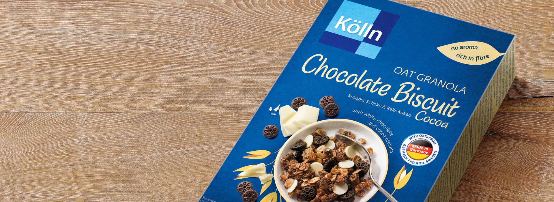 Koelln Oat Granola Chocolate Biscuit Cocoa Pack on Table