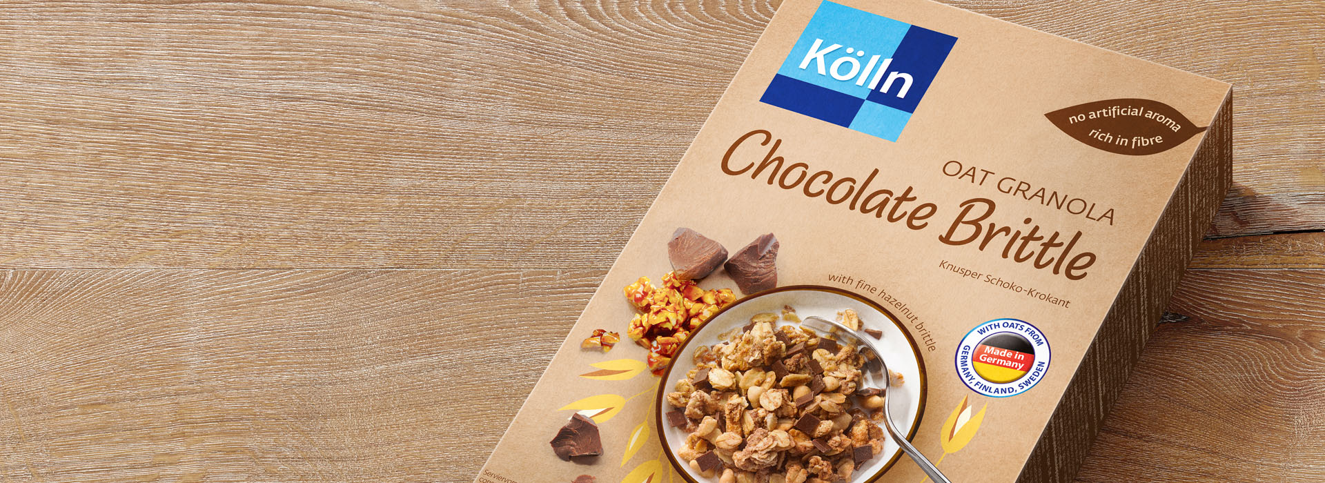 Koelln Oat Granola Chocolate Brittle Pack on Table