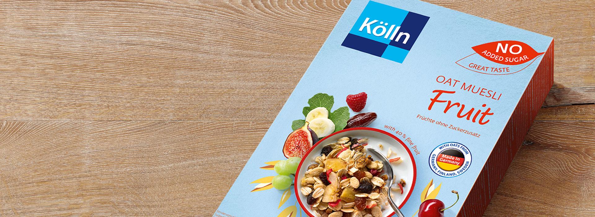 Koelln Oat Muesli Fruit no added sugar Pack on Table