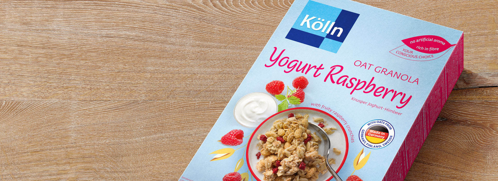 Koelln Oat Granola Yogurt Raspberry Pack on Table